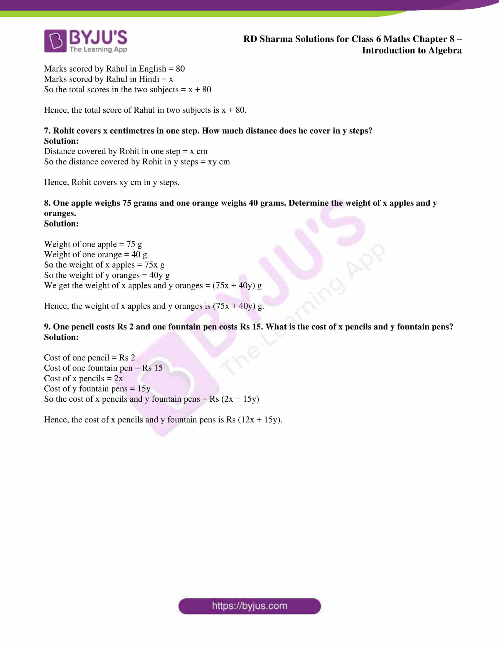 Rd Sharma Solutions For Class 6 Chapter 8 Introduction To