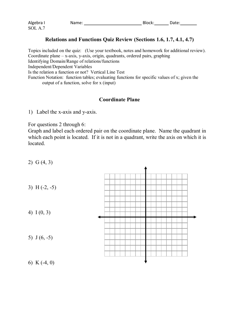 Relations And Functions Quiz Review (Sections 1.6, 1.7, 4.1, 4.7
