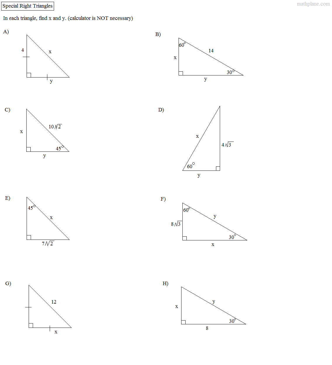Right Triangle Worksheet   Kids Activities