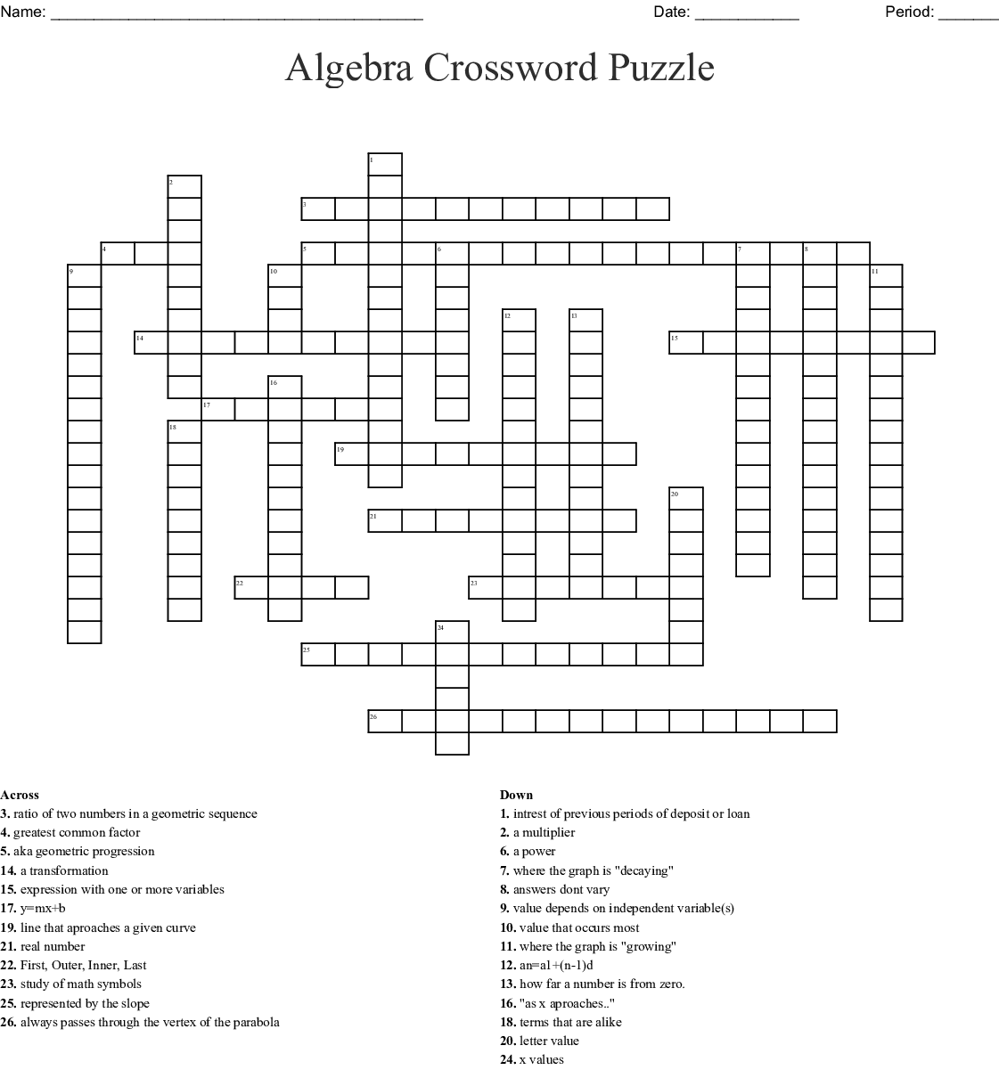 Similar To College Algebra Word Search - Wordmint