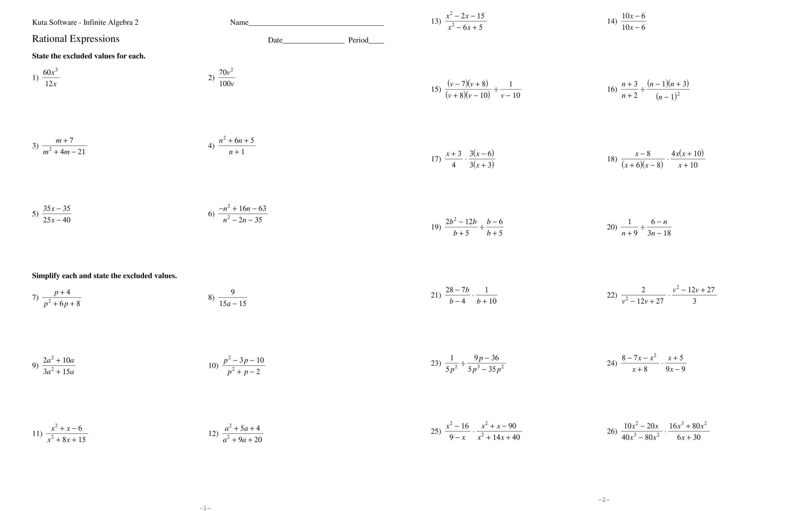Simplifying Algebraic Expressions Worksheet And Answers