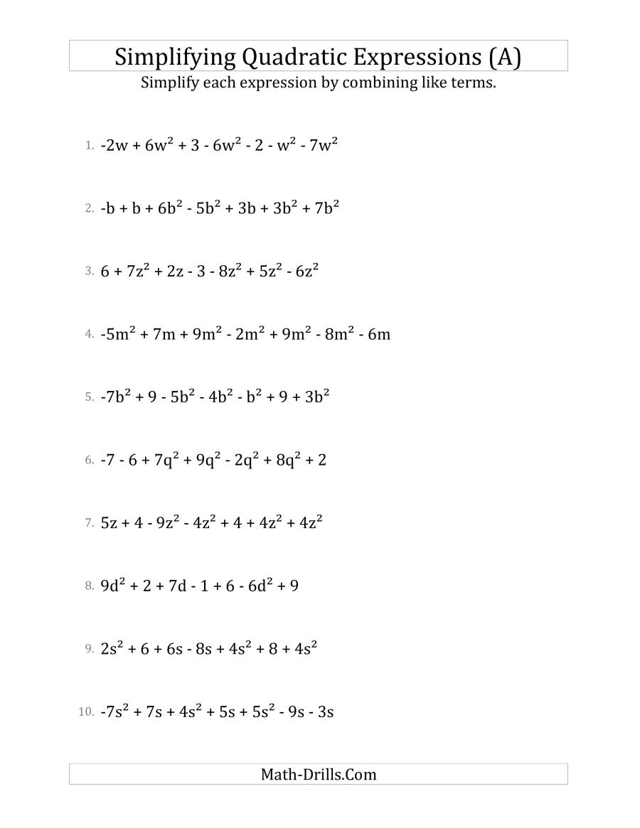 Simplifying Quadratic Expressions With 7 Terms (A)