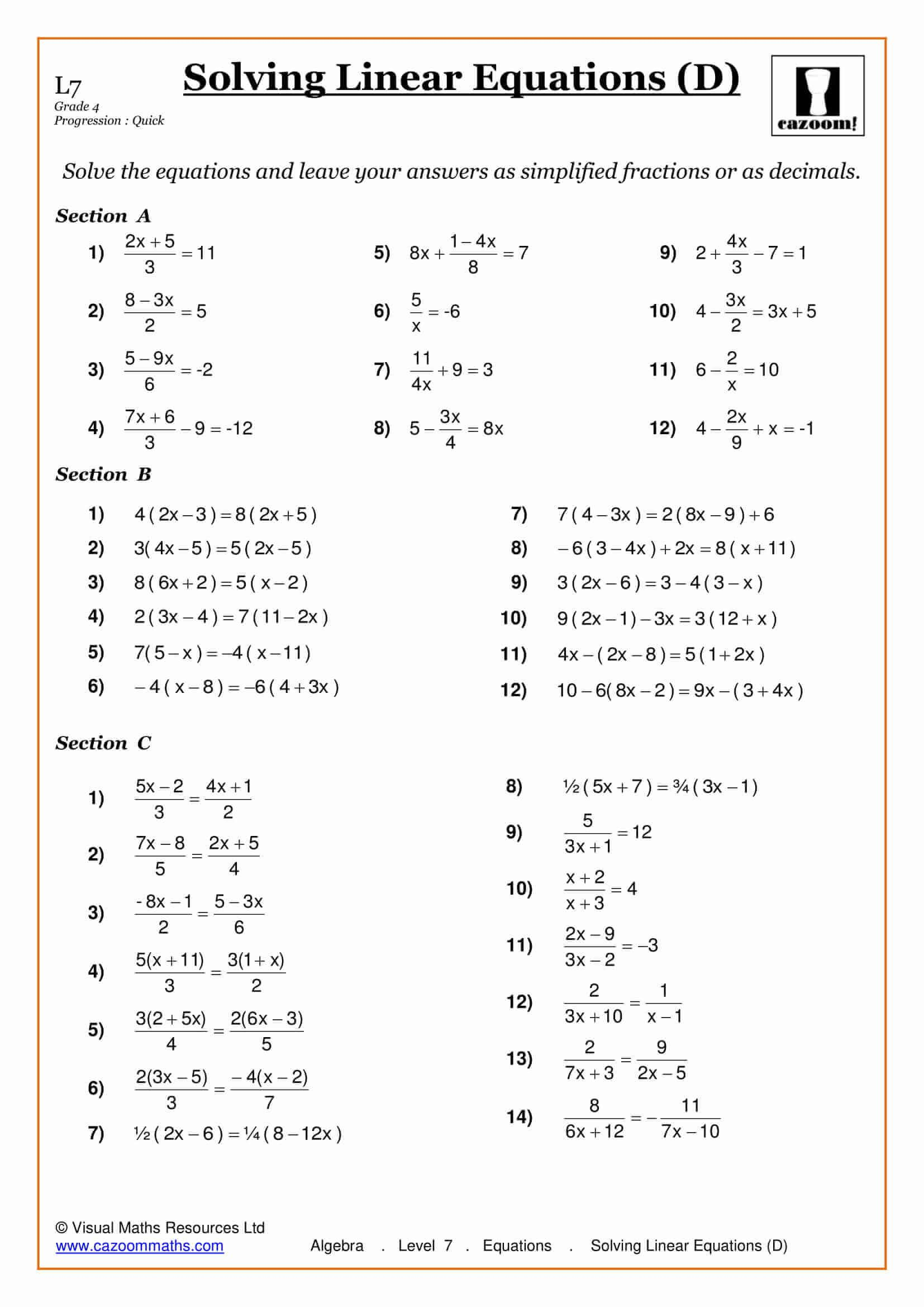 10th Grade Algebra Worksheets And Answers | Algebra ...