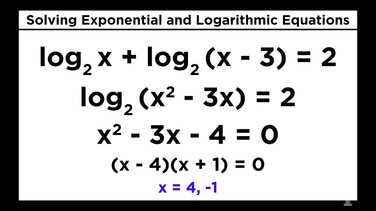 Solving Exponential And Logarithmic Equations