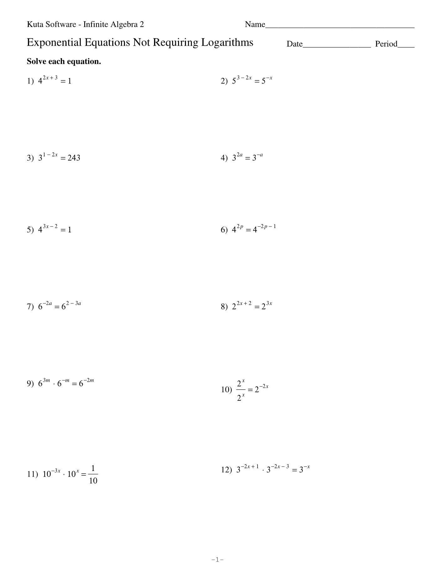 Solving Exponential Equations Without Logs Worksheet Answers