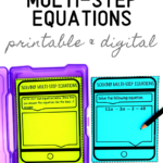 Solving Multi-Step Equations Task Cards - Classroom