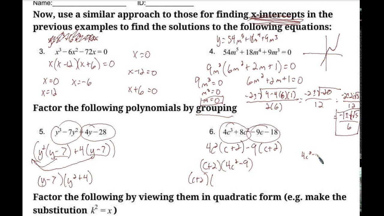 Solving Polynomial Equations Worksheets