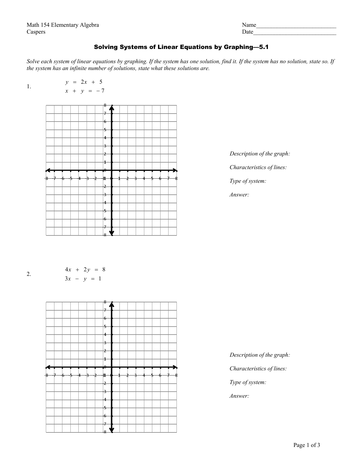 Solving Systems Of Linear Equationsgraphing Worksheet
