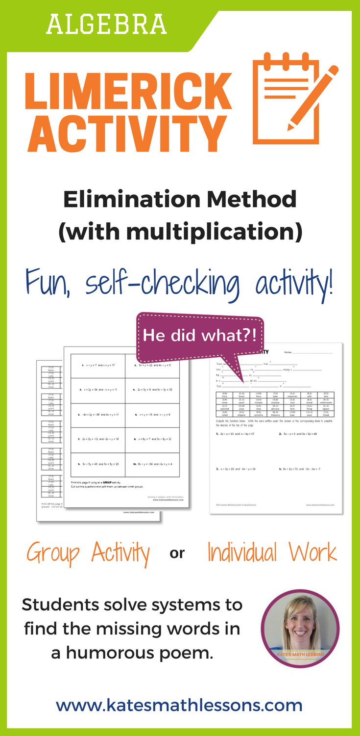 Solving Systems With Elimination (With Multiplication) Fun