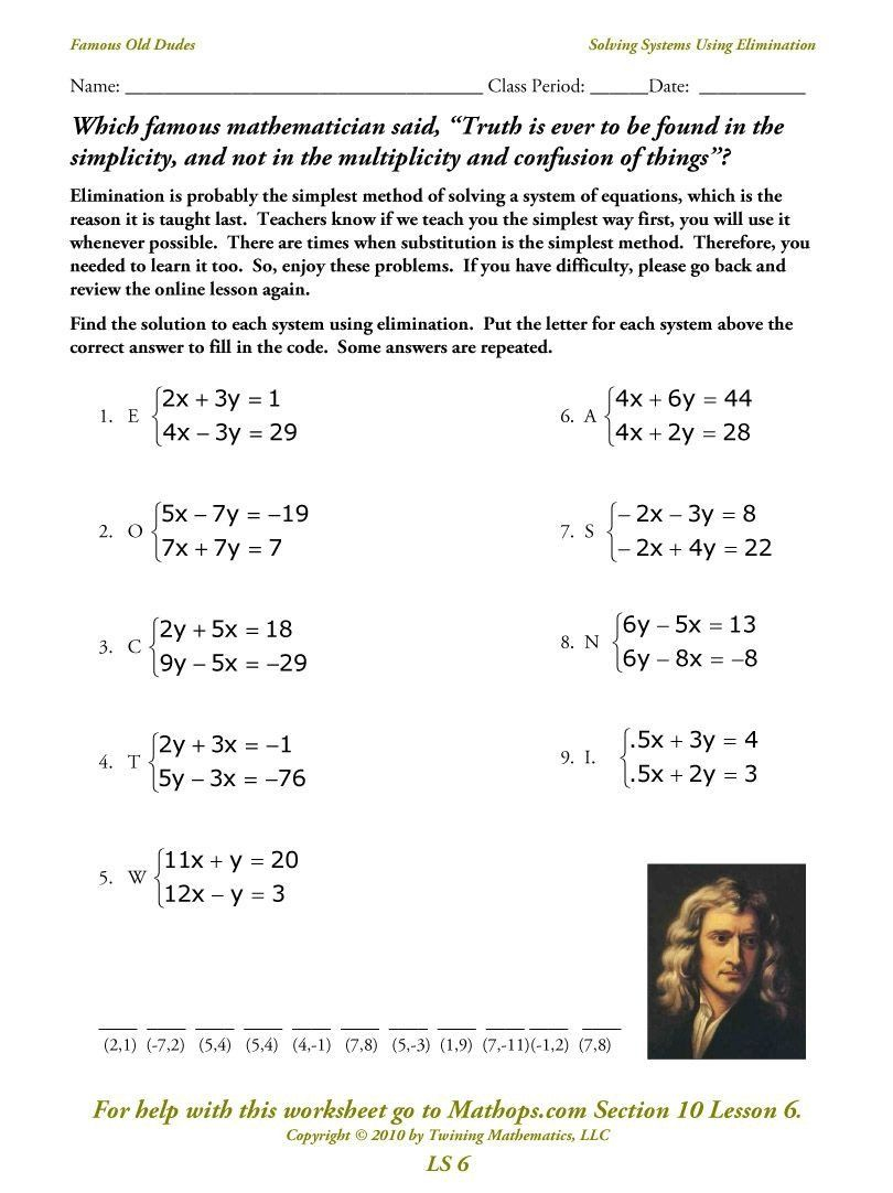 Solving Systemselimination Worksheet Systems Of