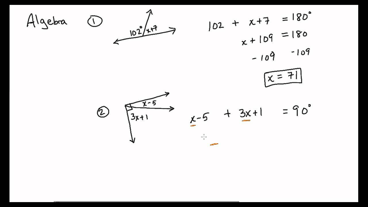 Supplementary And Complementary Angles With Algebra