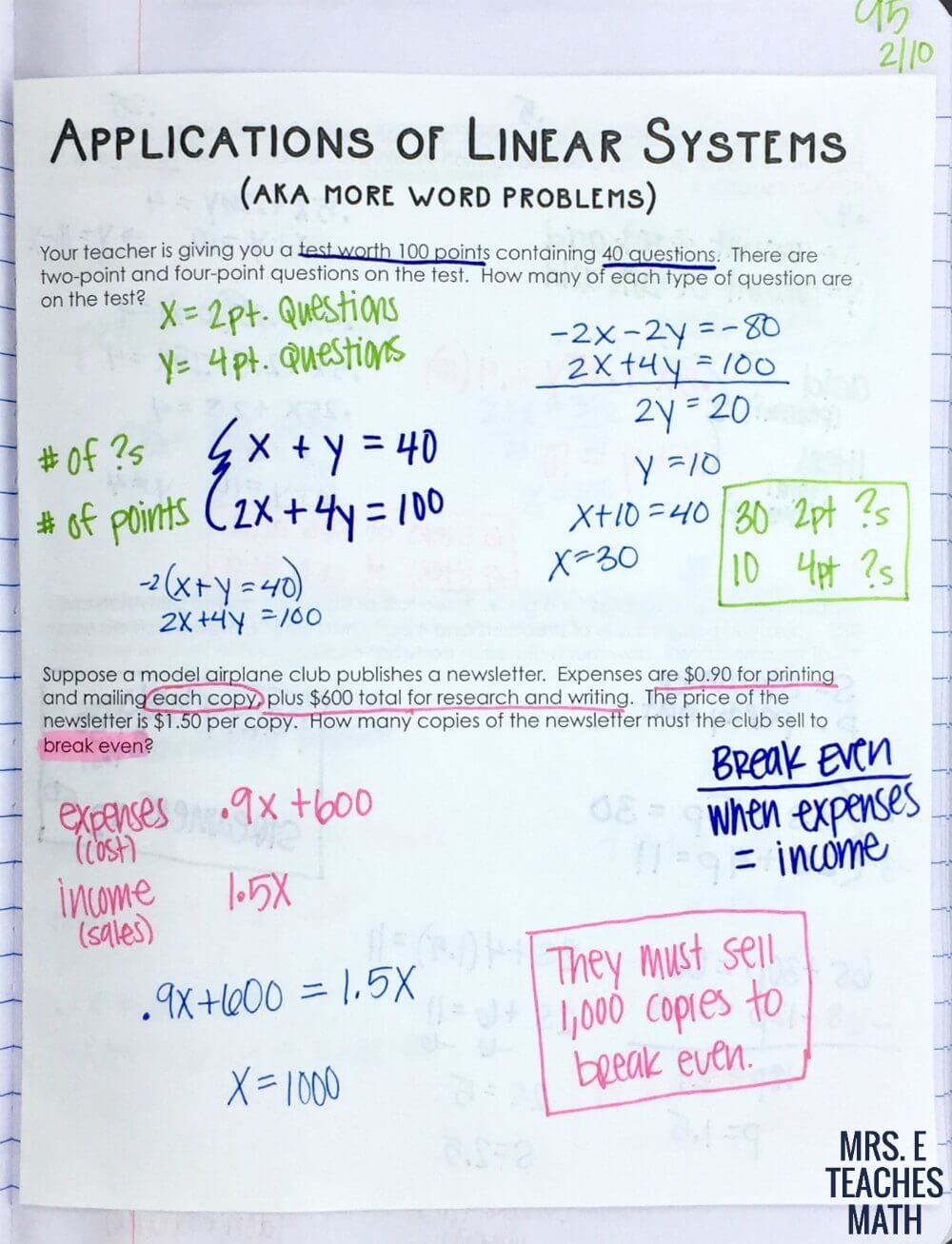 Systems Of Linear Equations Word Problems Inb Page   Systems