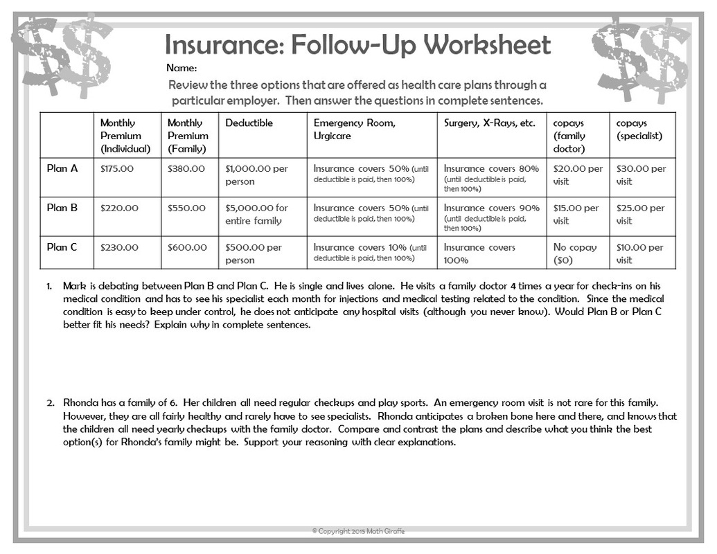 Teaching Personal Finance To Teens Financial Math Worksheets