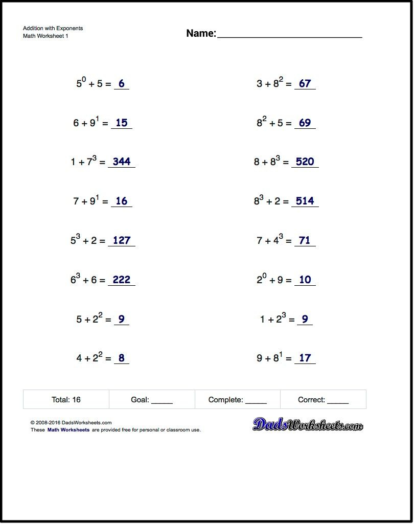 The Exponents Worksheets In This Section Provide Practice