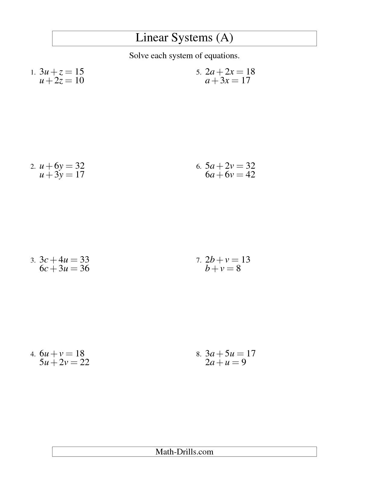 The Systems Of Linear Equations -- Two Variables (A) Math