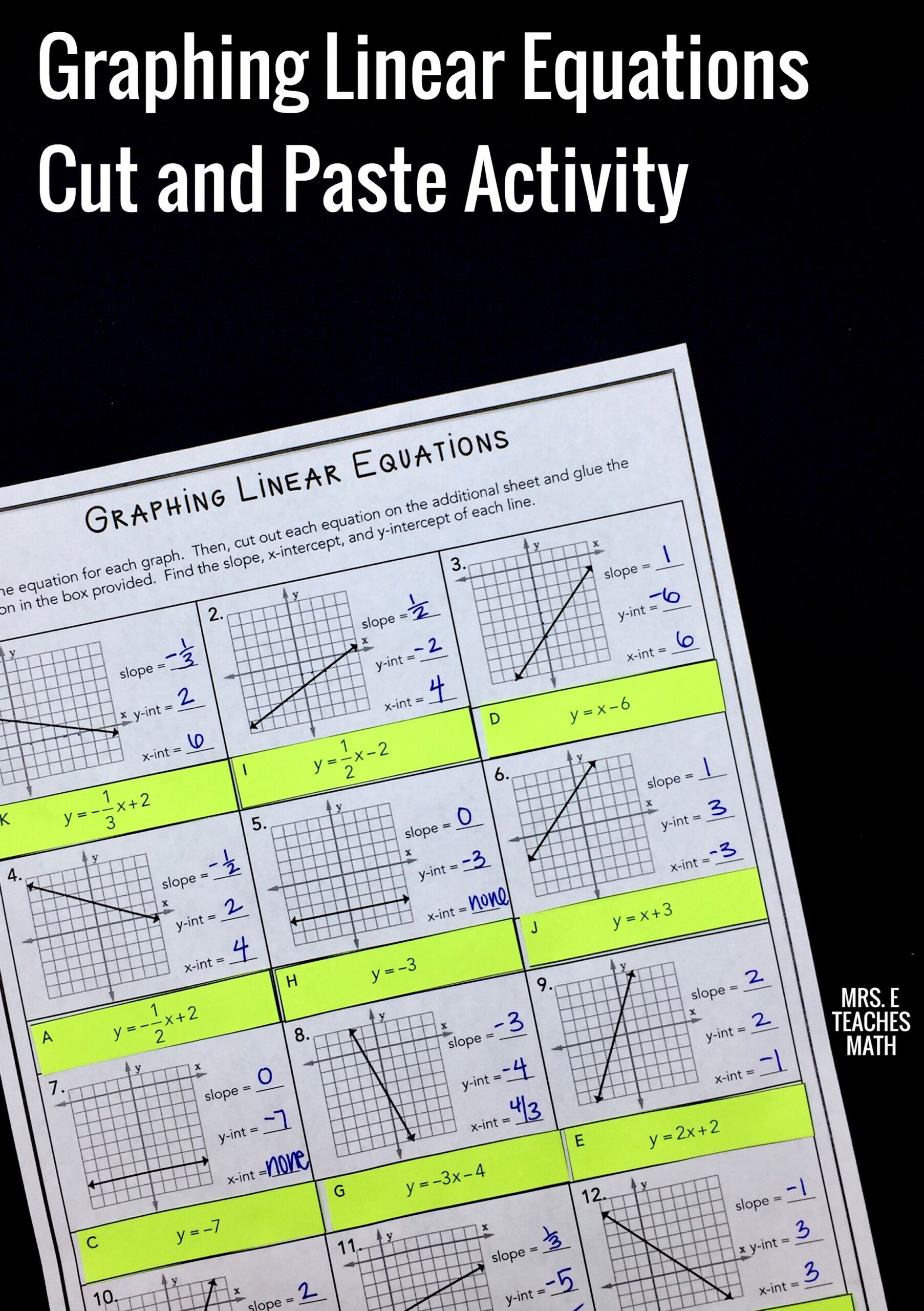 This Activity For Graphing Linear Equations Is A Fun