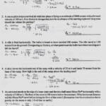 Transparency 6 1 Worksheet The Trajectory Of A Projectile