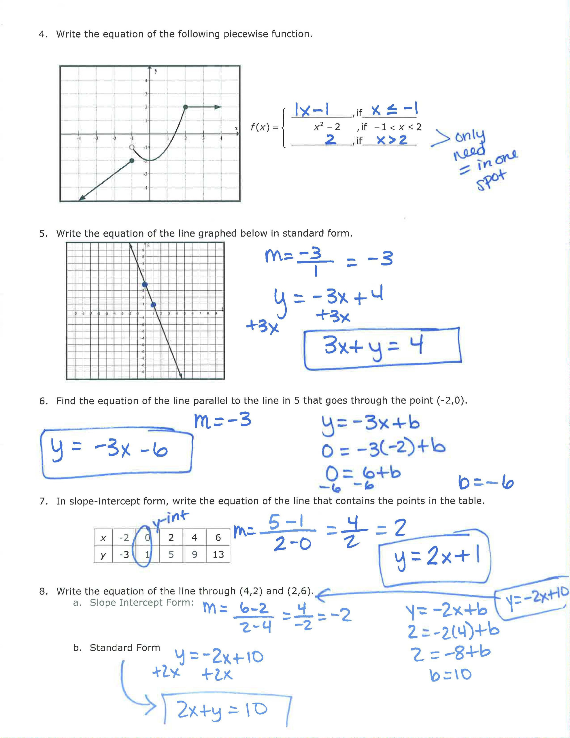 Unit 1 Page 2 Review Answers | Quadratic Functions