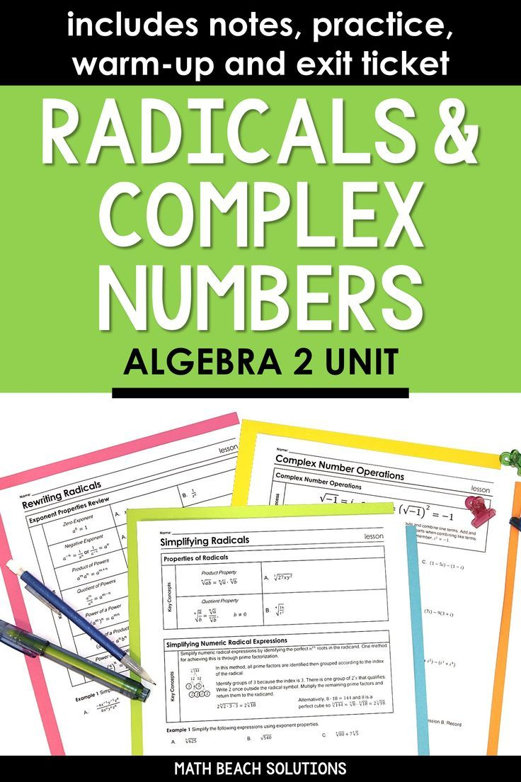 Unit 5 + Activities: Radical Expressions & Complex Numbers