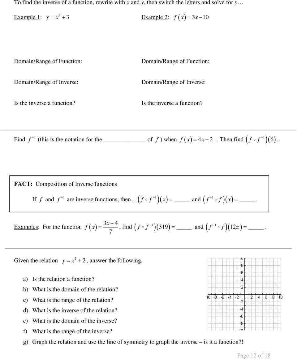 Unit 7: Radical Functions & Rational Exponents - Pdf Free