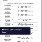 Unit Conversion Worksheets For Converting Metric/si Area To