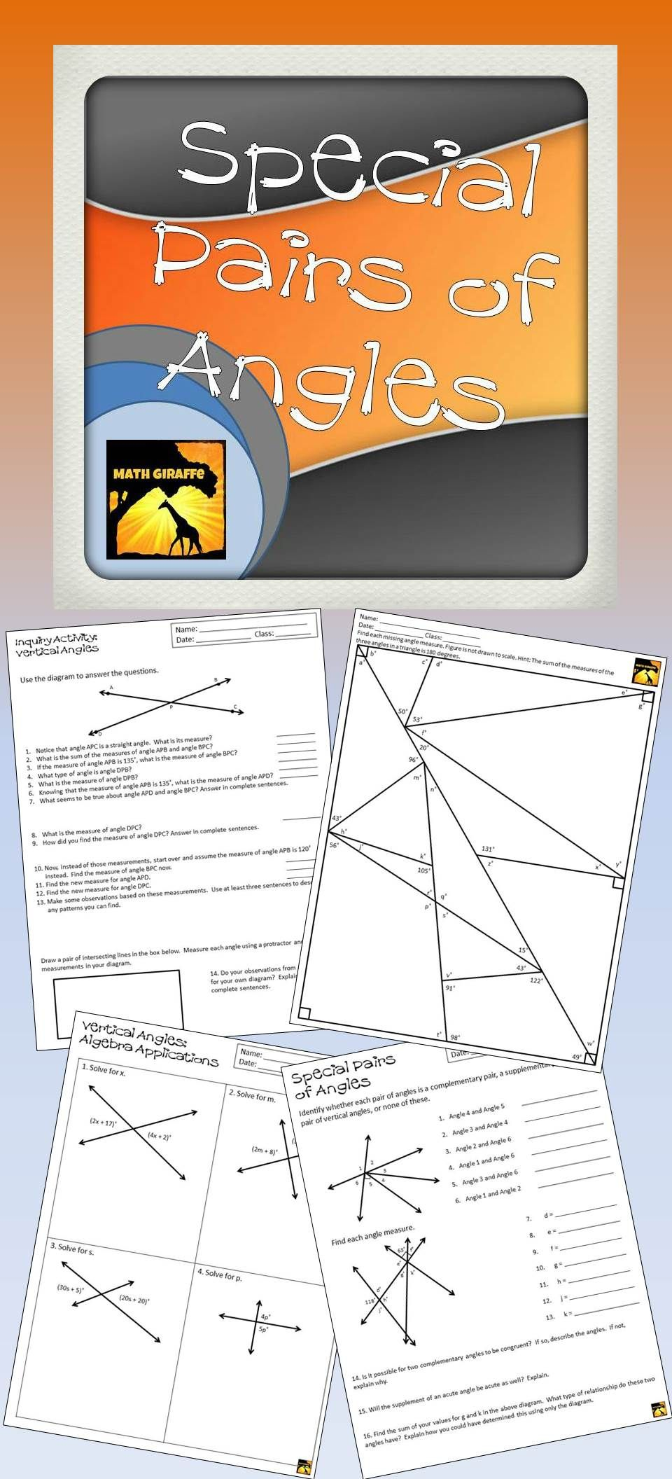 Vertical Angles & Other Special Angle Pairs - Inquiry Lesson
