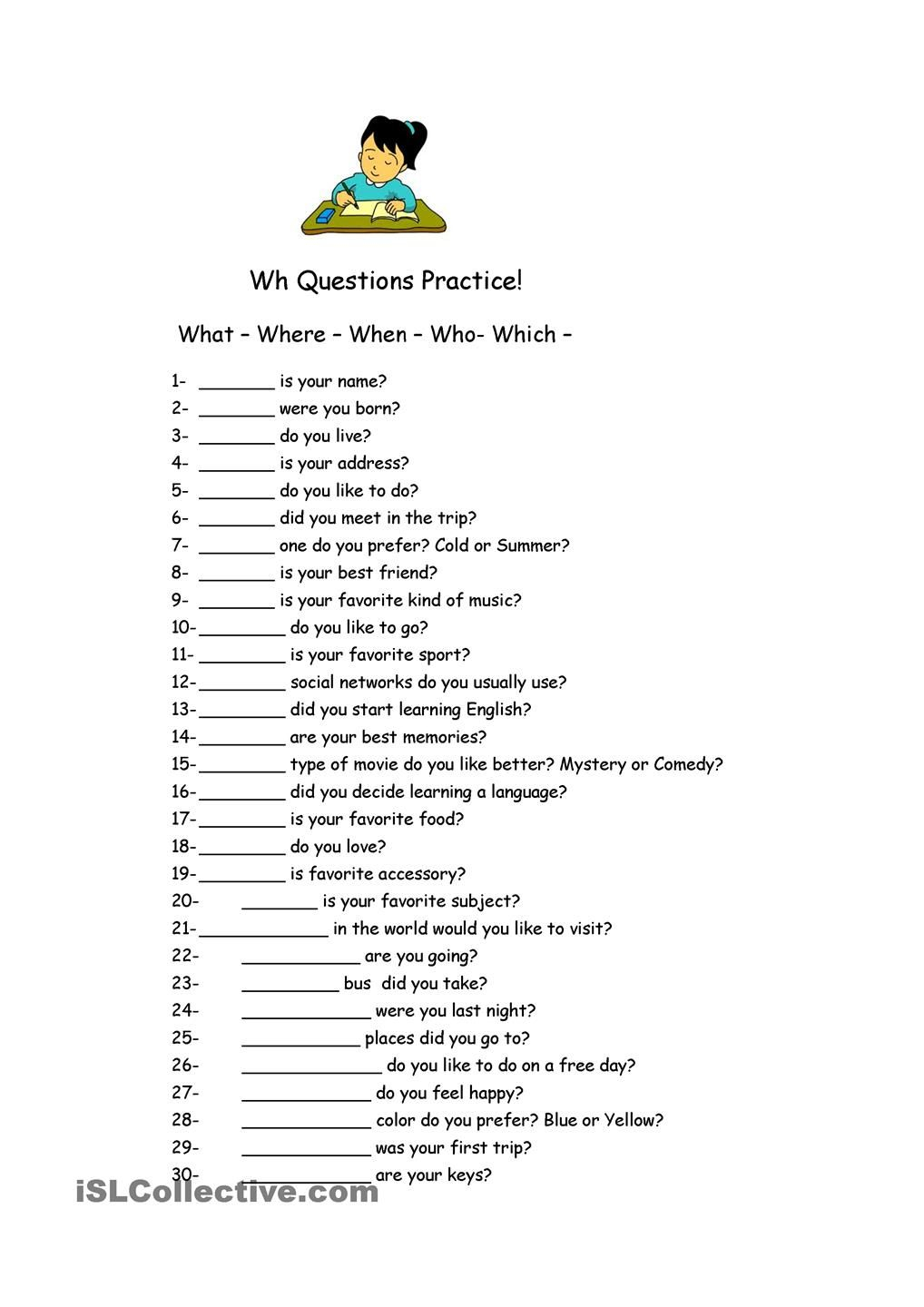 Wh Questions Practice.   Wh Questions Worksheets, Reading