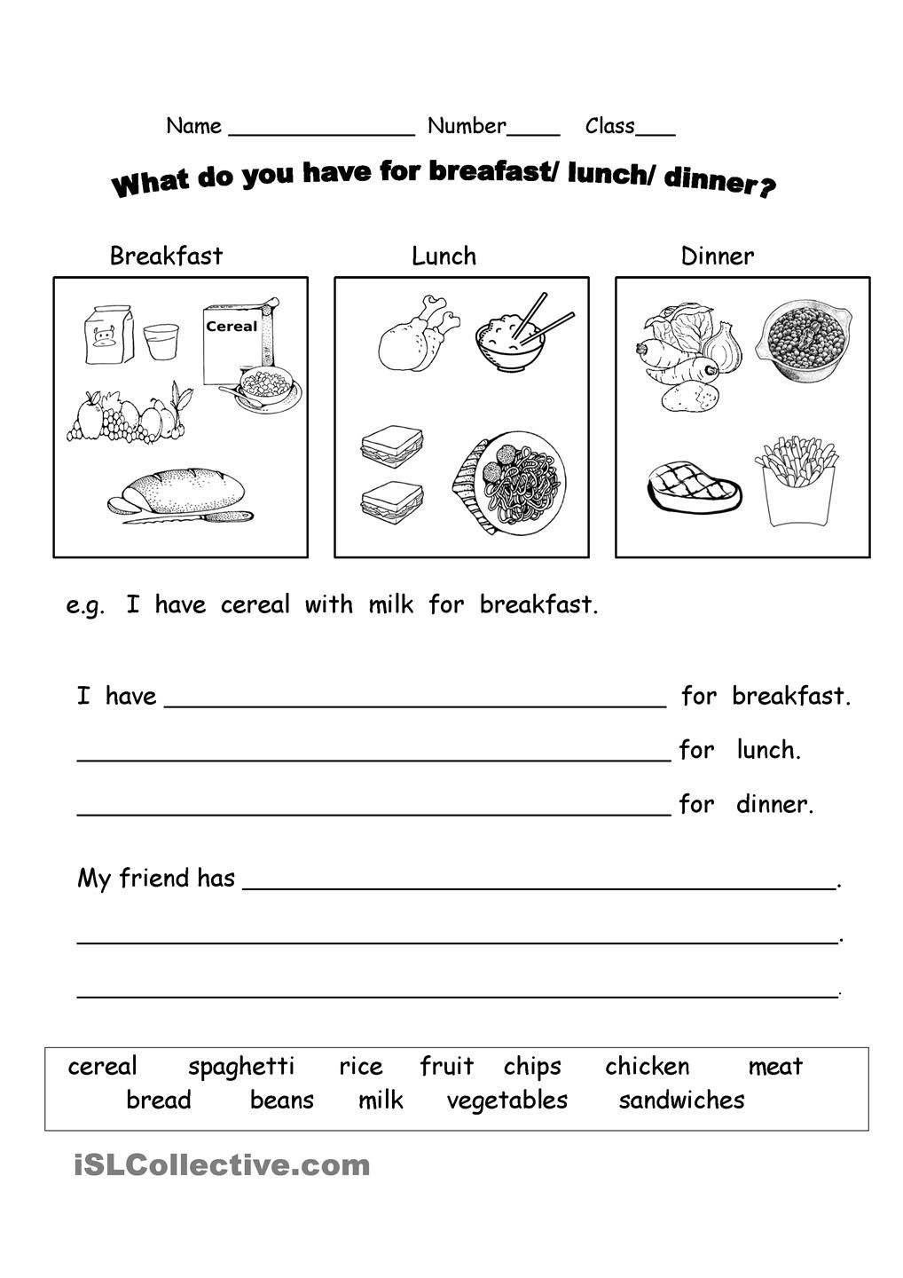 What Do You Have For Breakfast? | Vocabulary Worksheets