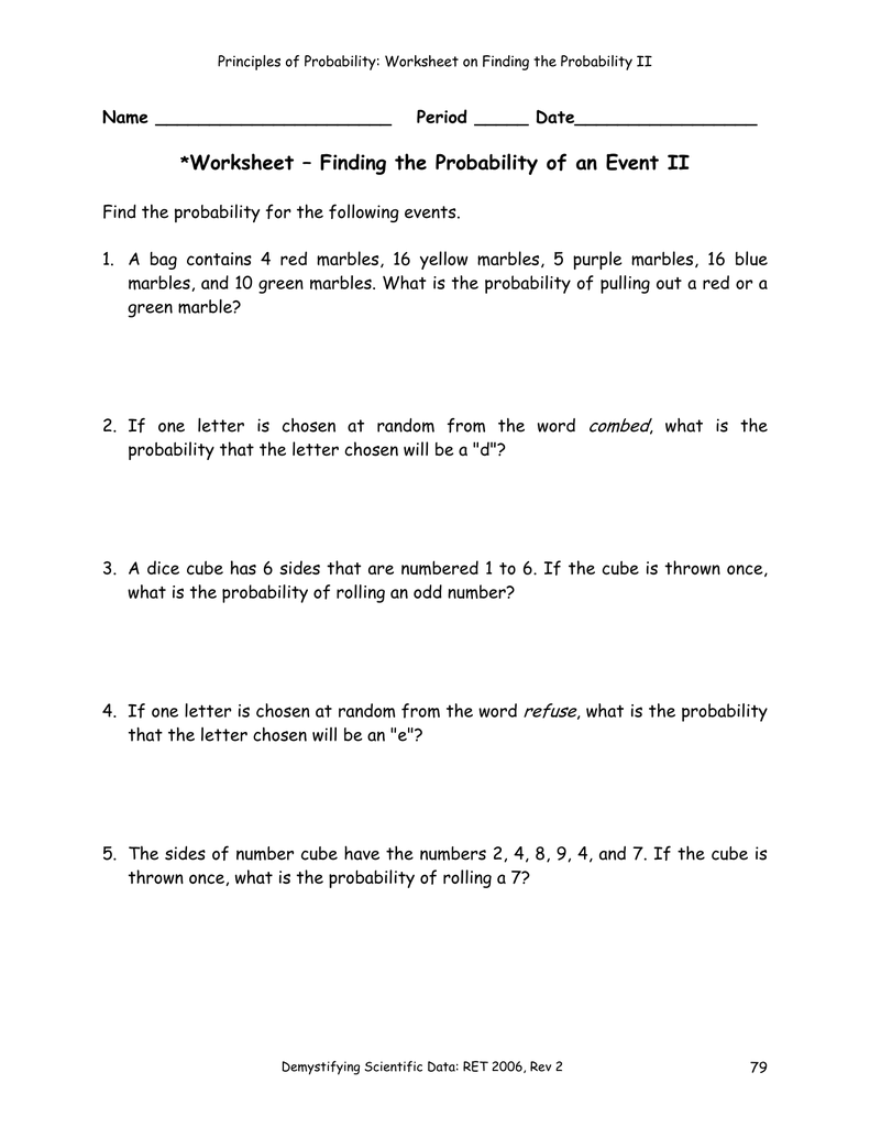 Worksheet – Finding The Probability Of An Event Ii