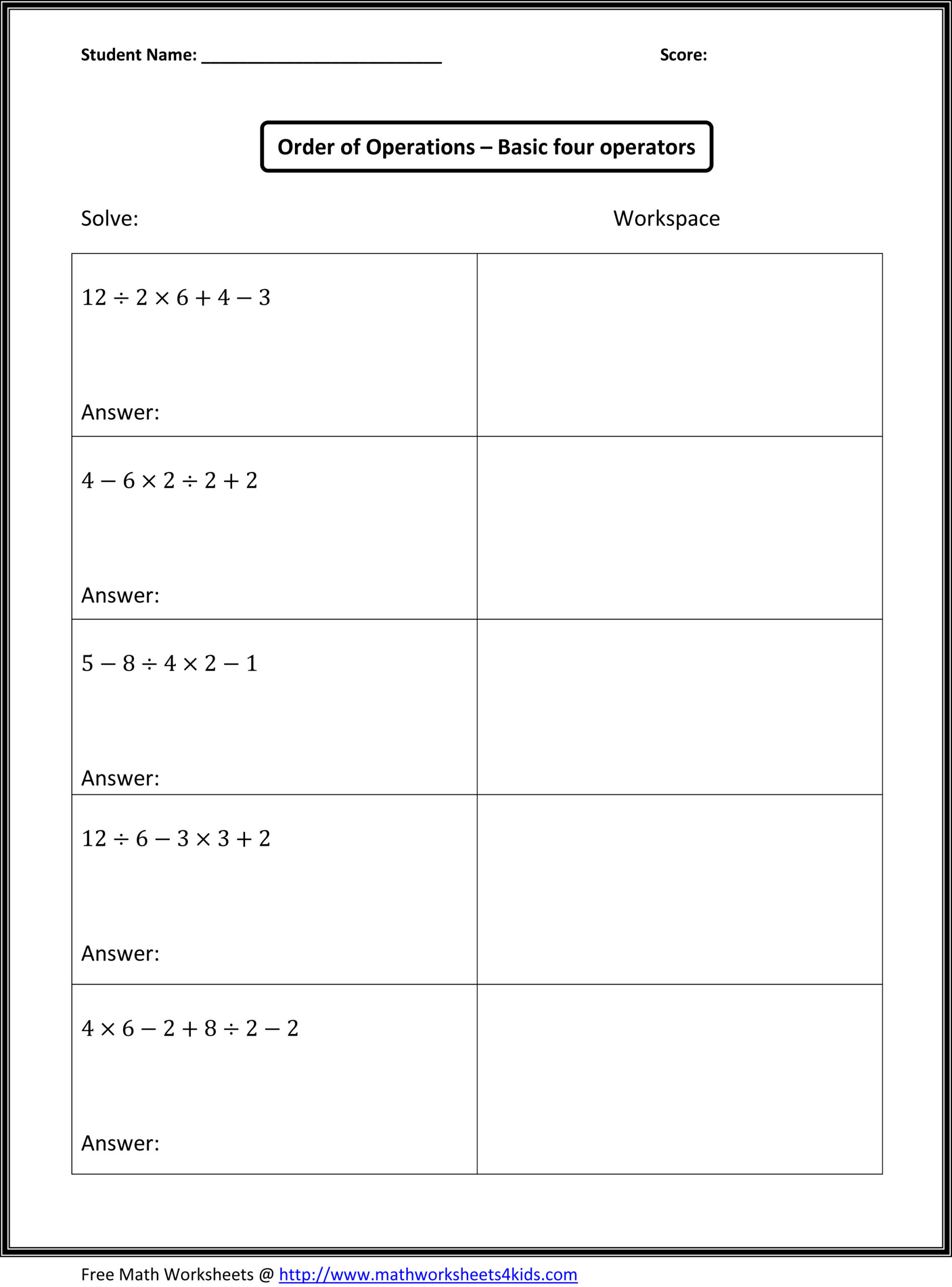 Worksheet ~ Mrs Naik Order Of Operations Lessons Tes Teach
