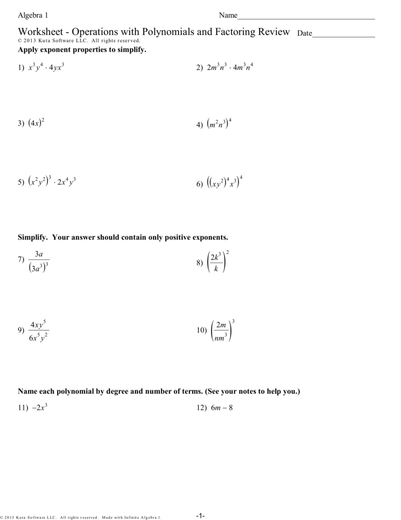 Worksheet - Operations With Polynomials And