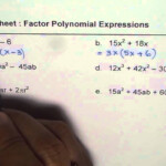 Worksheet To Factor Polynomials