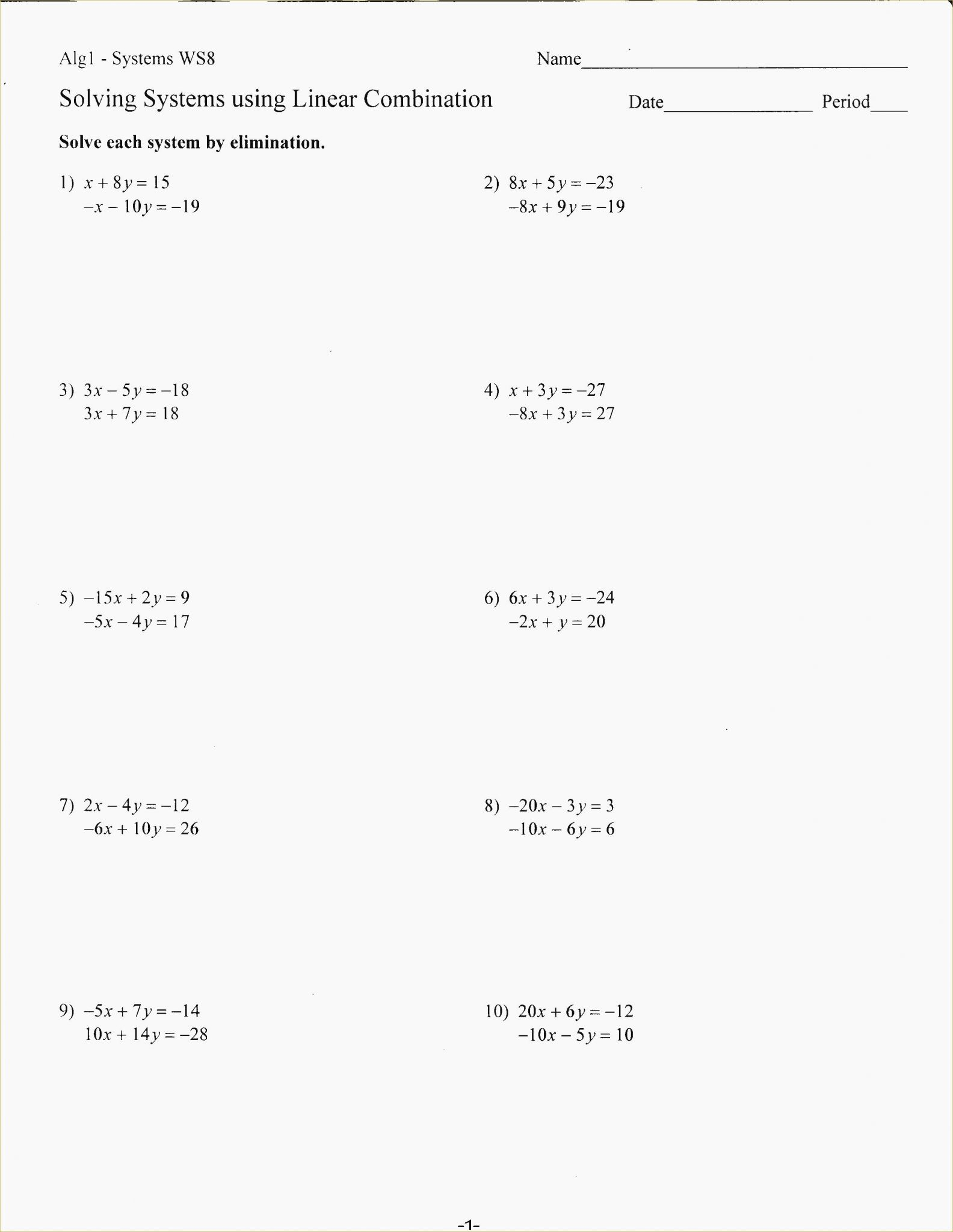 Worksheets : 42 Extraordinary Solving System Of Equations