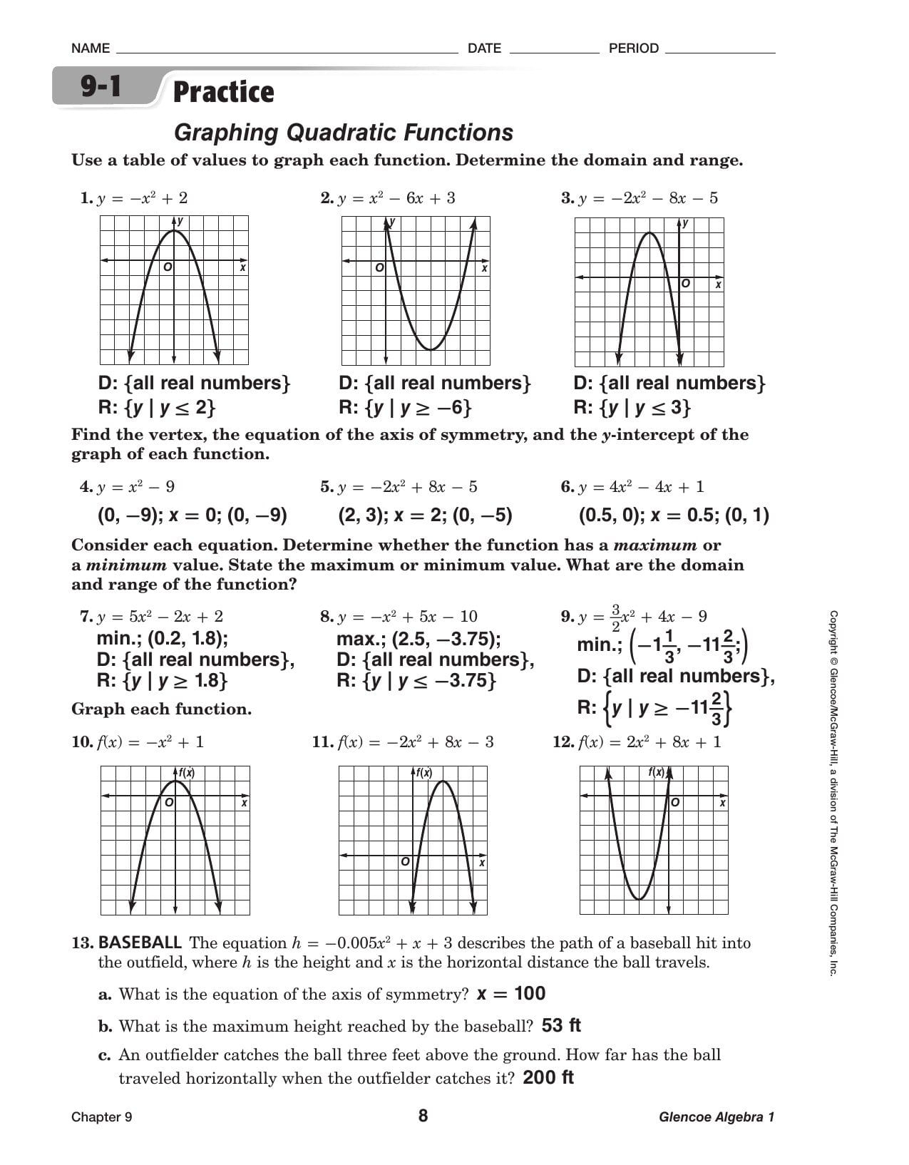 Worksheets For Converting A Quadratic Equation To Vertex