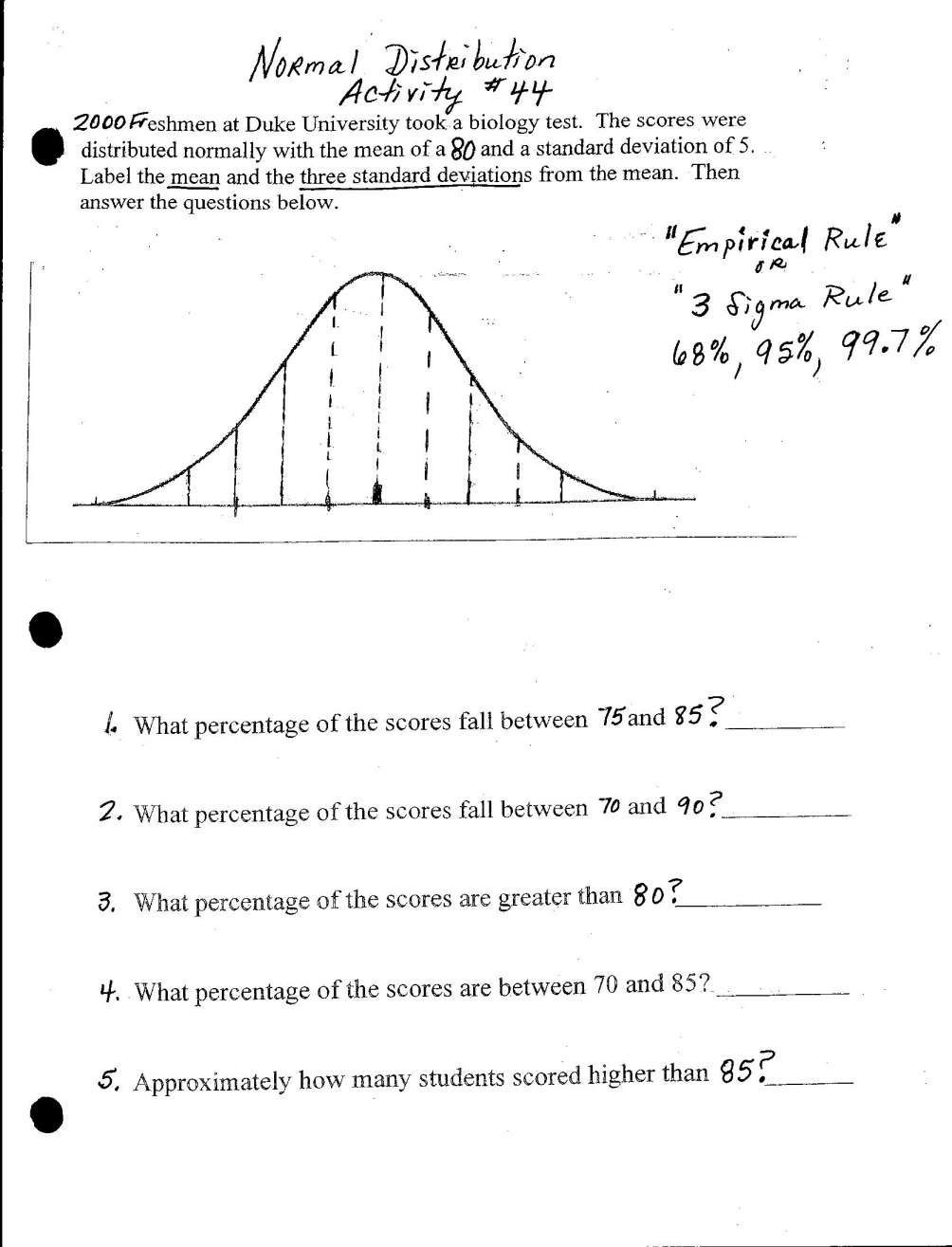 12+ Math 11A Worksheet On Normal Distribution In 2020