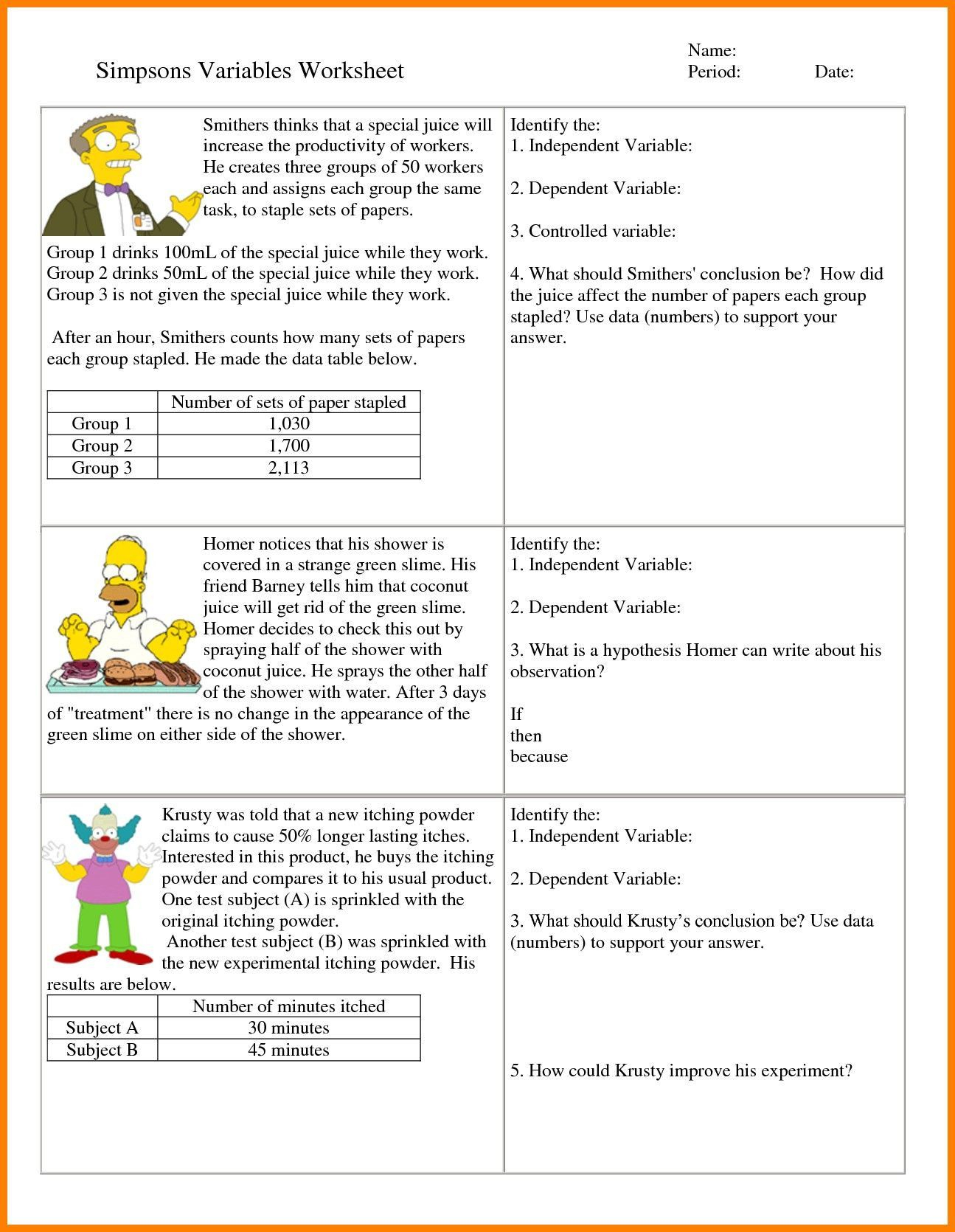 2 Independent And Dependent Variables Math Worksheet With