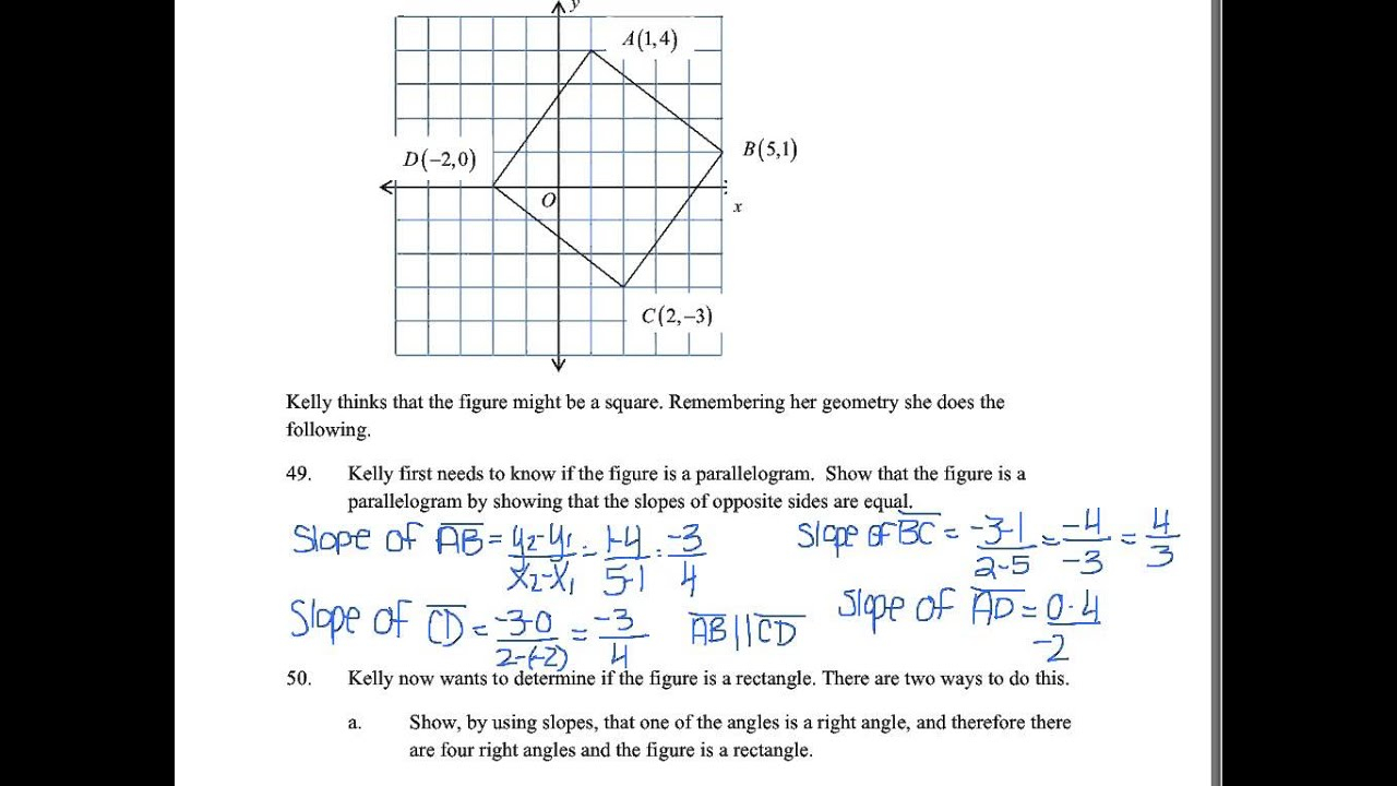2015 Honors Geometry Exam Review - Unit 4 Topic 2 (Questions 45-54)