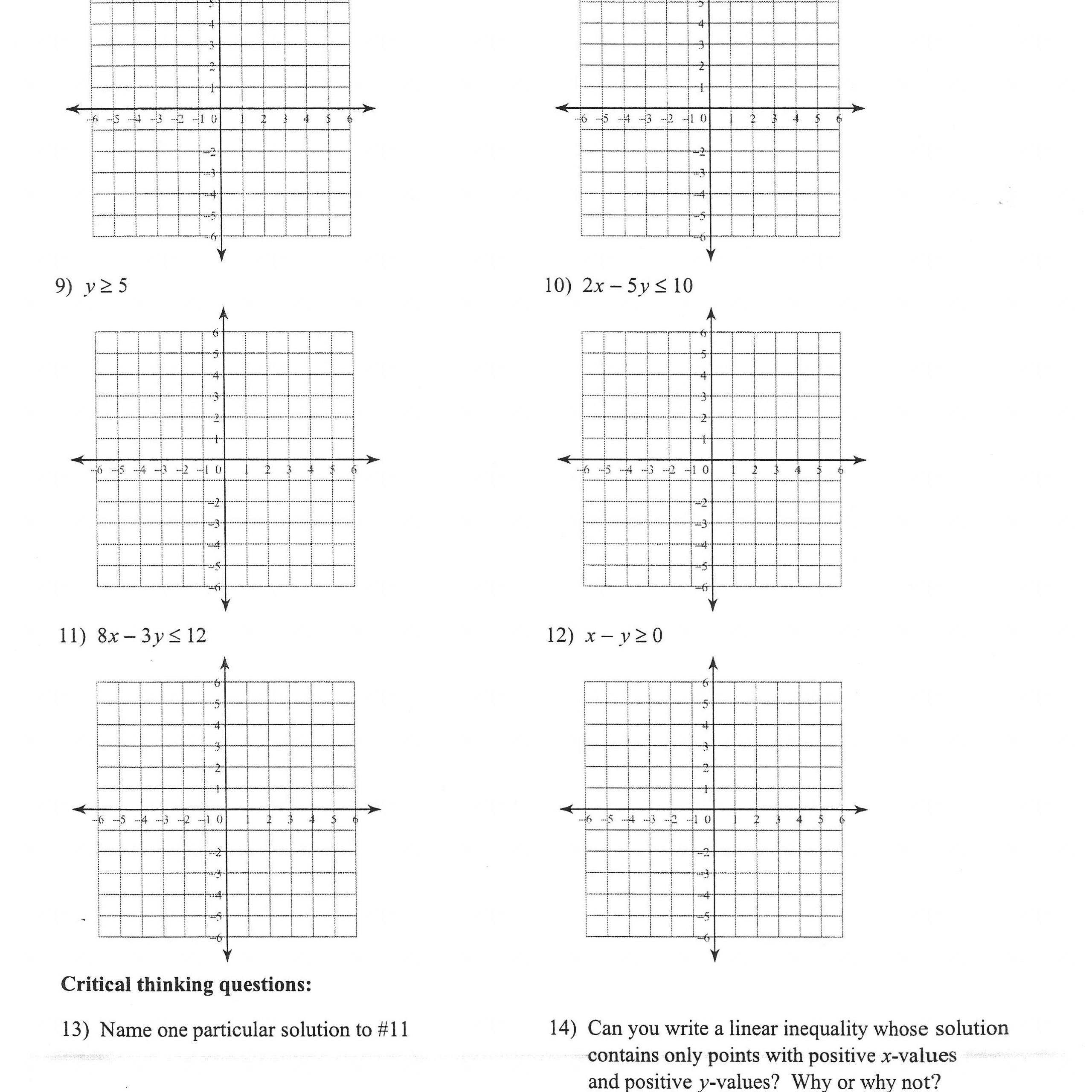 32 Graphing Linear Inequalities Worksheet Answers