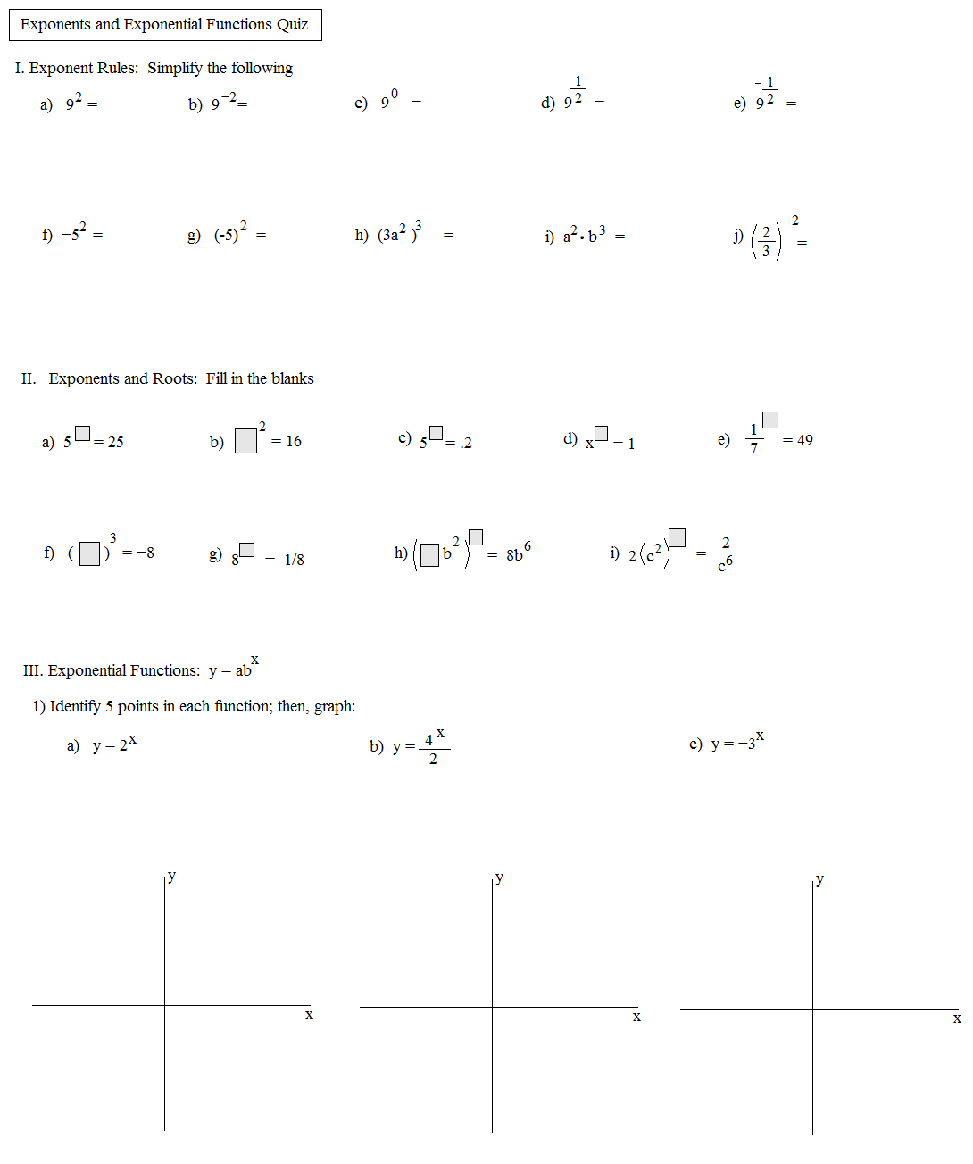54 Marvelous Free Math Worksheets Topics Exponents Picture