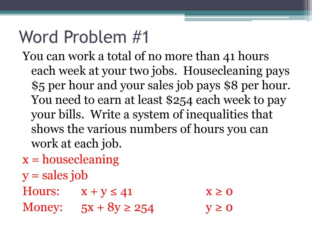6-6 Systems Of Linear Inequalities Word Problems - Ppt Download