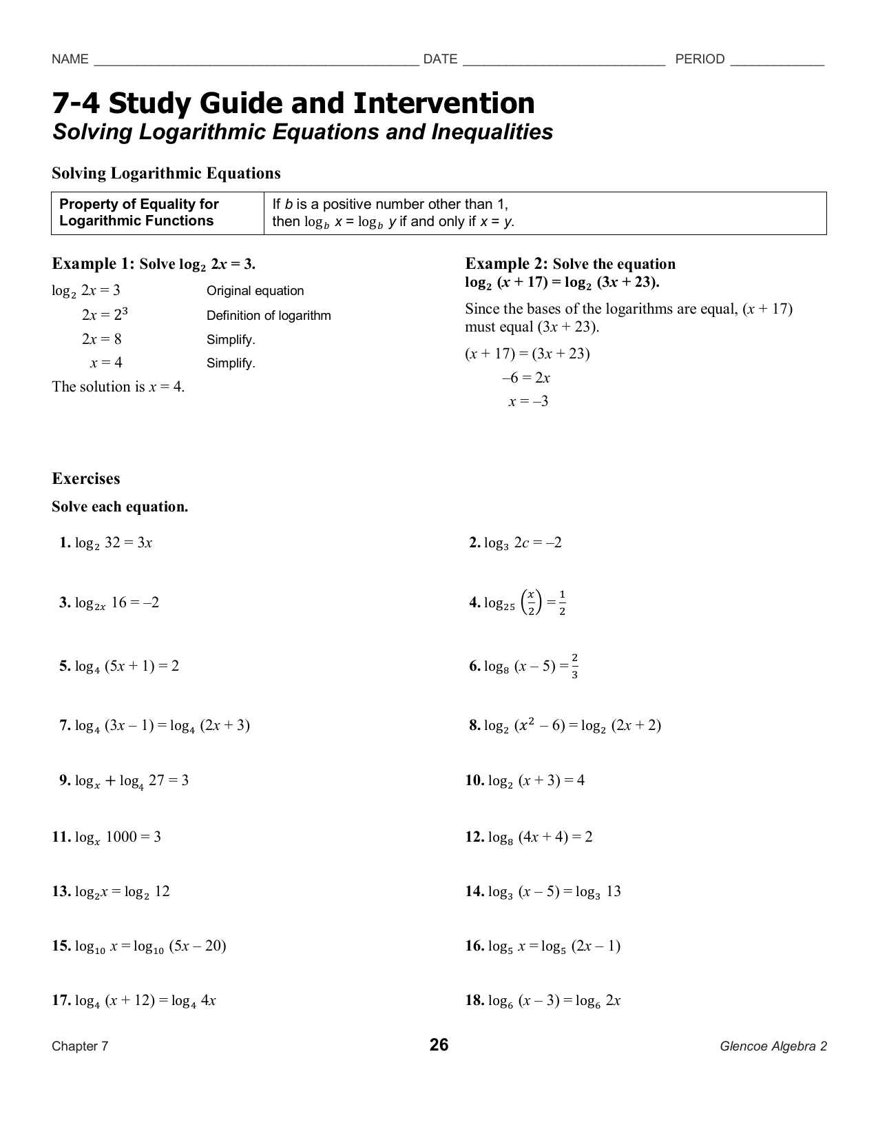 7-4 Study Guide And Intervention Solving Logarithmic Equations