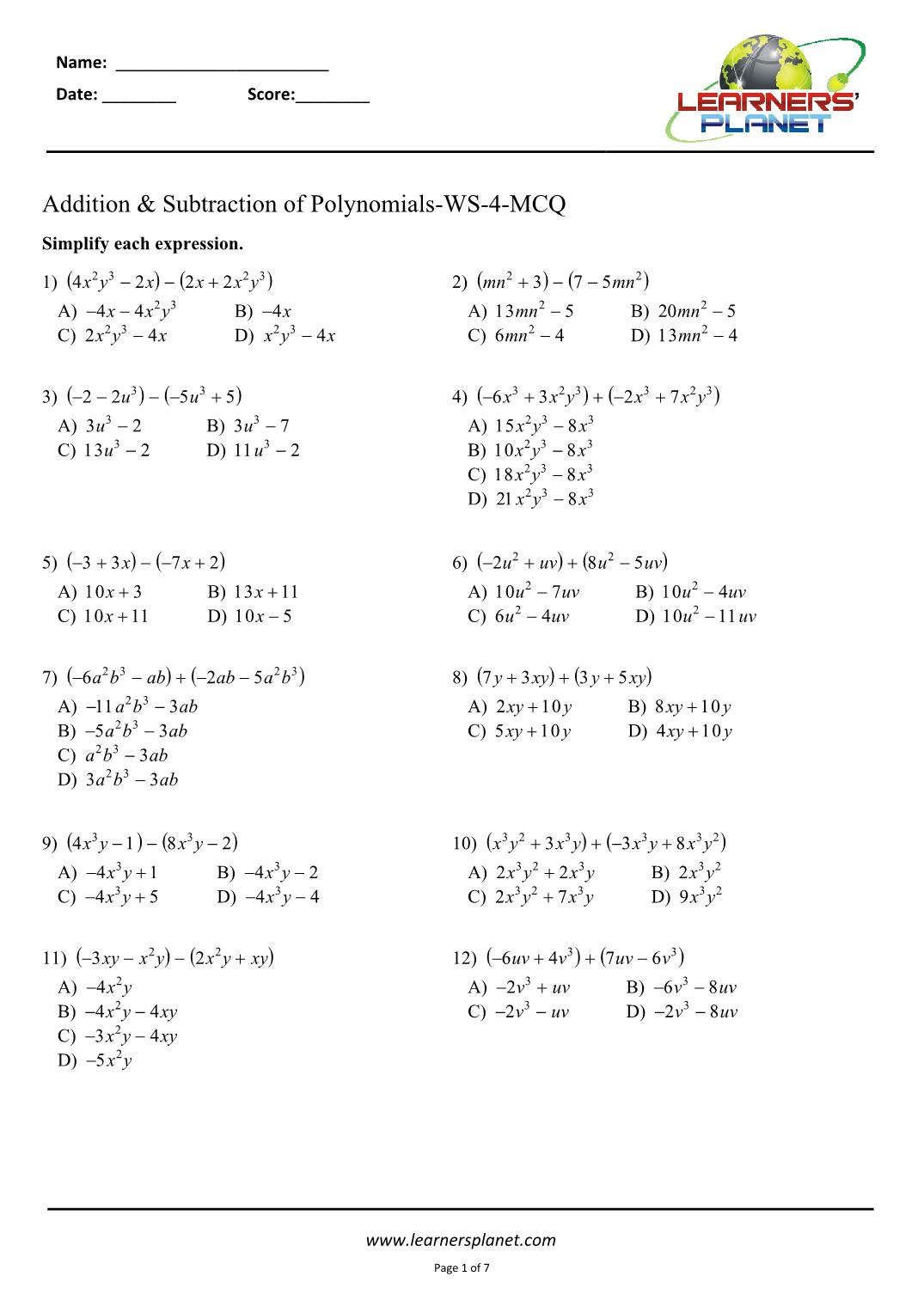 Adding And Subtracting Polynomials Worksheets 8Th Cbse