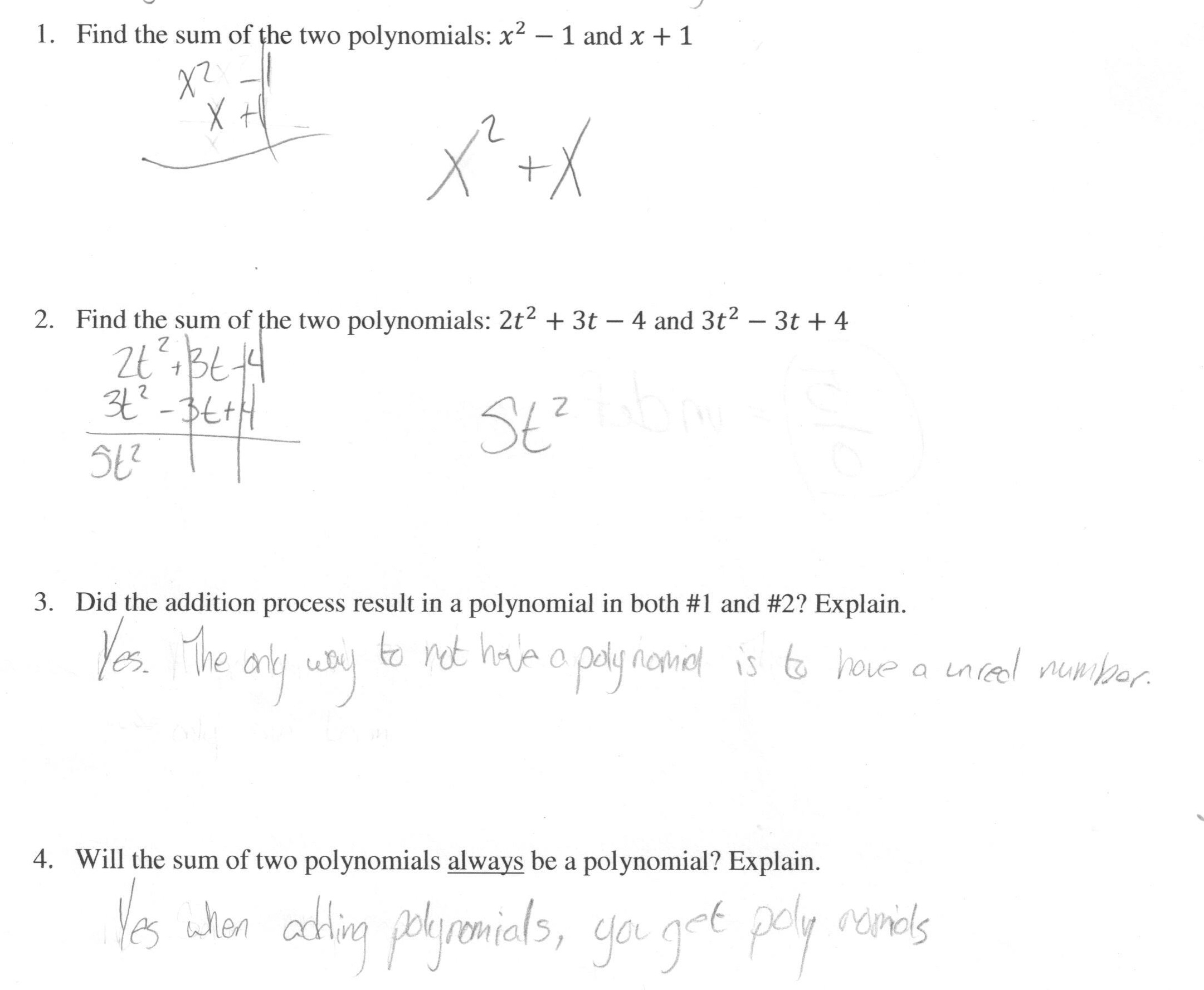 Adding Subtracting And Multiplying Polynomials Worksheet