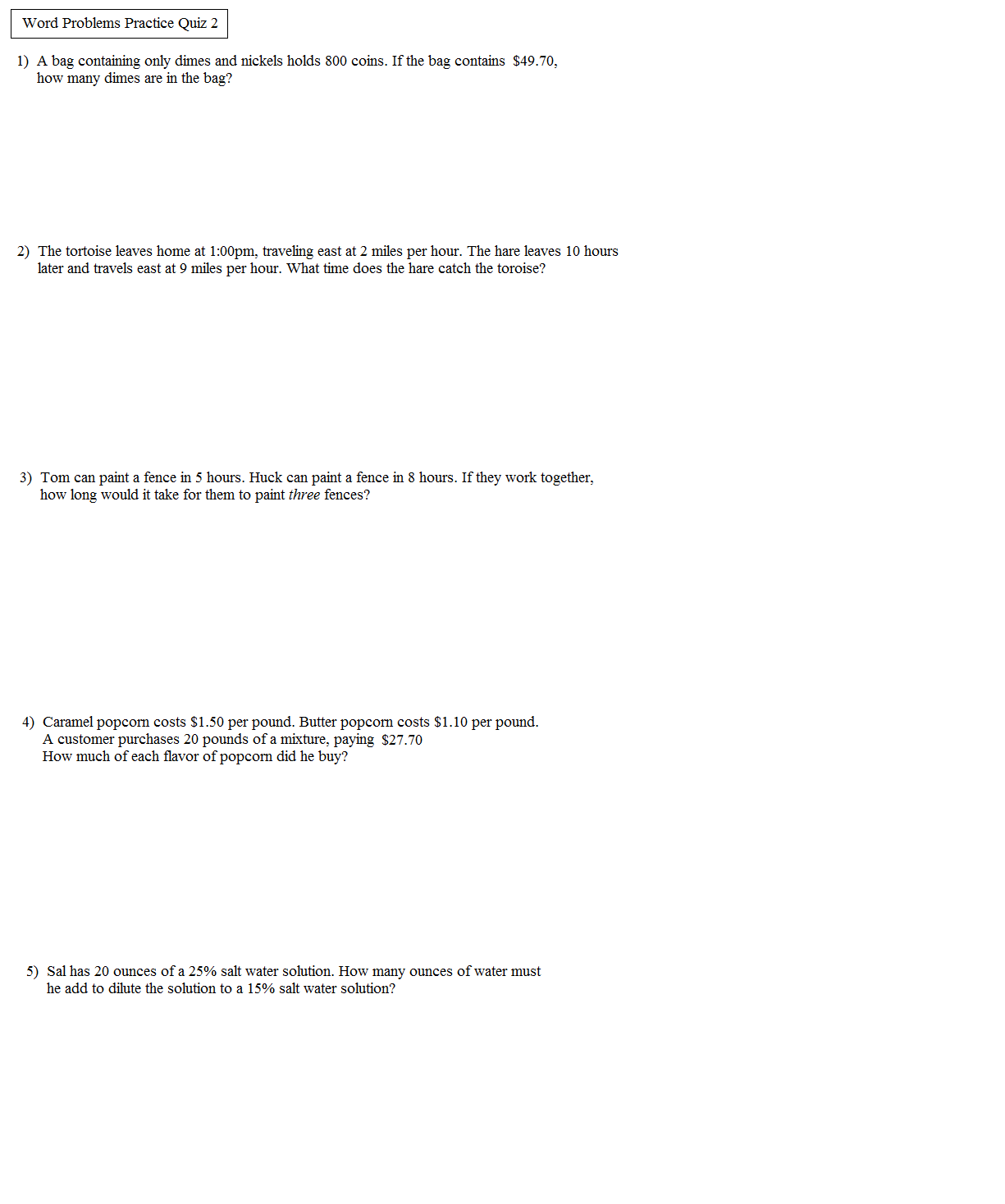 Algebra 1 Systems Of Equations Word Problems Worksheet Two