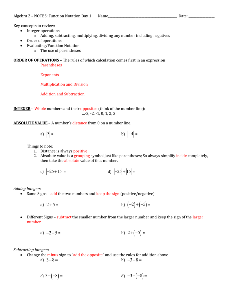 Algebra 2 – Notes: Function Notation Day 1