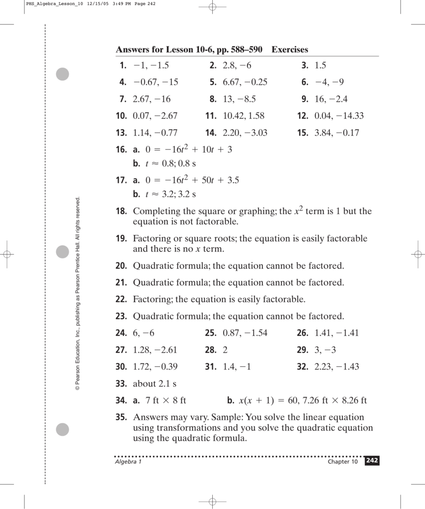 Answers For Lesson 10-6, Pp. 588–590 Exercises