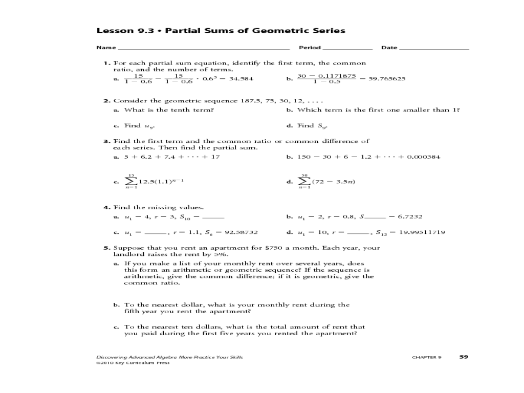 Arithmetic And Geometric Sequences Worksheet Answers - Nidecmege