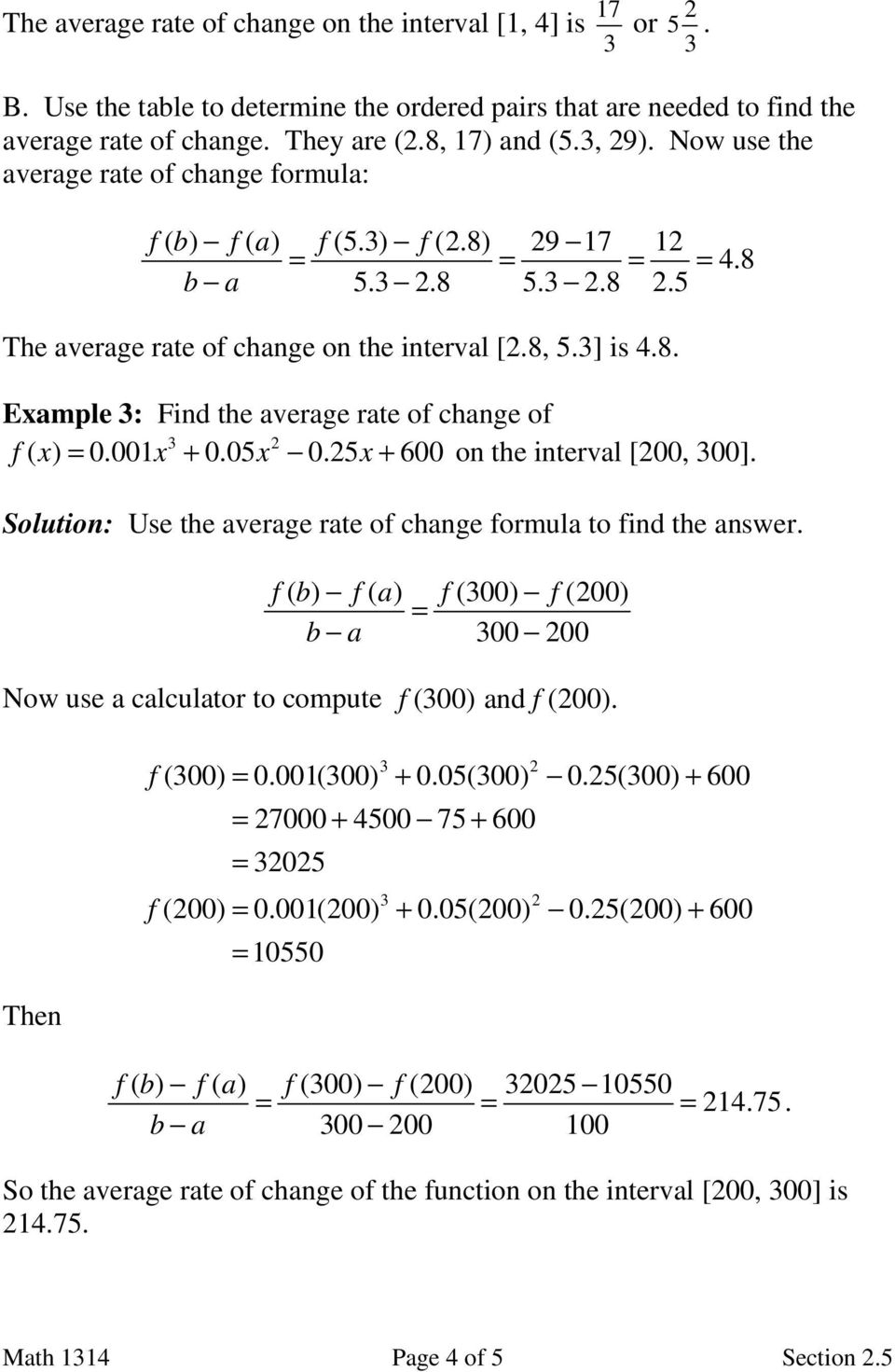 Average Rate Of Change Worksheet With Answers - Nidecmege