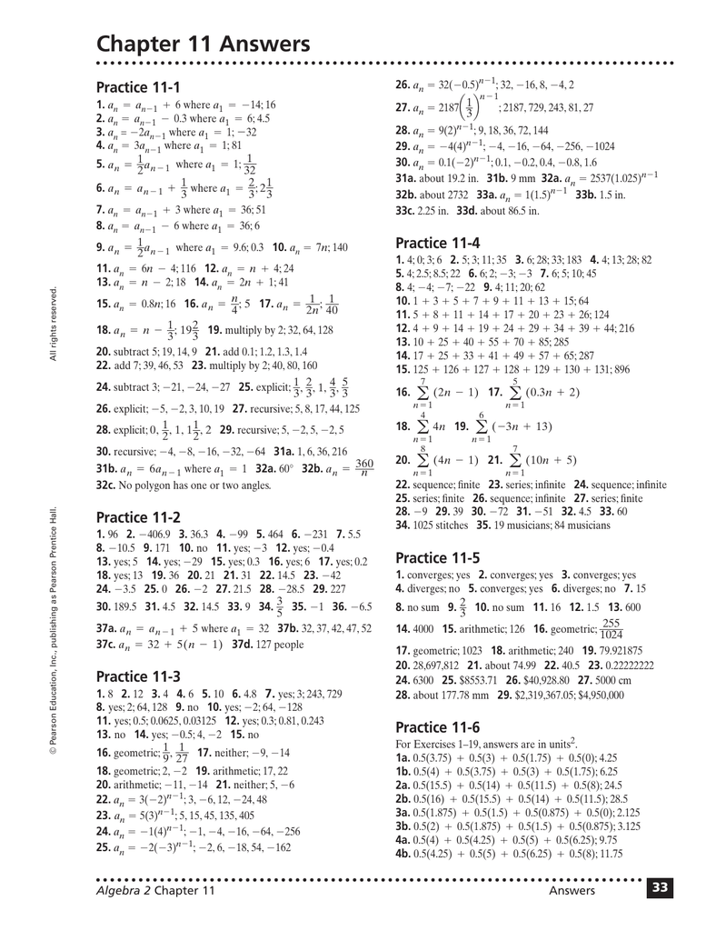 Chapter 11 Answers Practice 11-1 33 Algebra 2