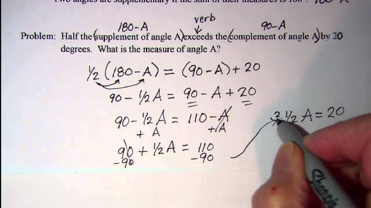 Complement And Supplement Word Problems